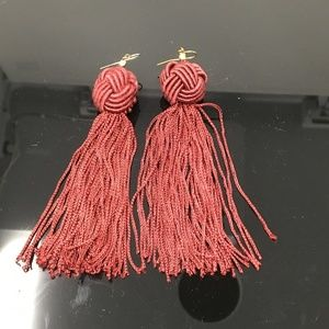 Vanessa Mooney Maroon Tassel Drop Earrings